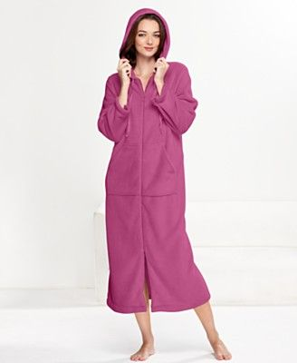 Charter Club Robe, Supersoft Long Hoodie Zip Up Robe - Womens ...