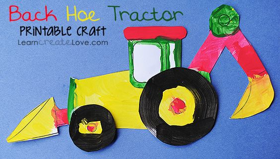 tractor template to print - printable back hoe tractor craft kid blogger network