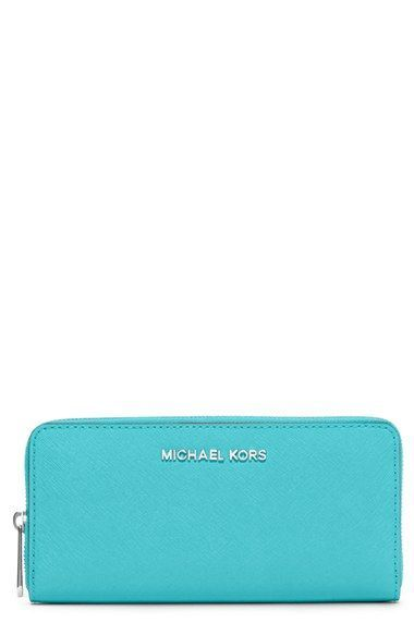 Women's MICHAEL Michael Kors 'Jet Set' Zip Around Continental Wallet - Blue/green