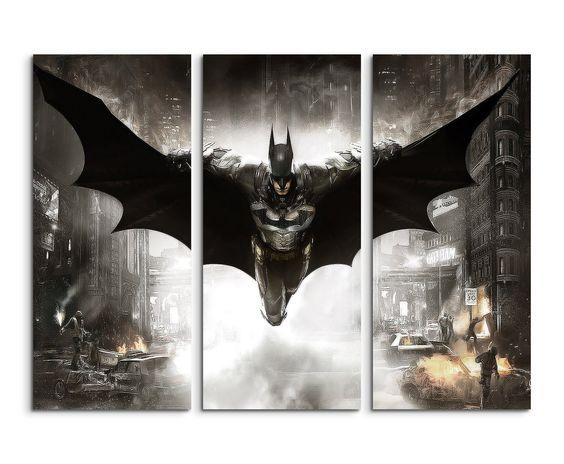 Leinwandbild 3 teilig Batman_Arkham_Knight_3x90x40cm (Gesamt 120x90cm) _Ausführung schöner Kunstdruck auf echter Leinwand als Wandbild auf Keilrahmen: Amazon.de: Küche & Haushalt