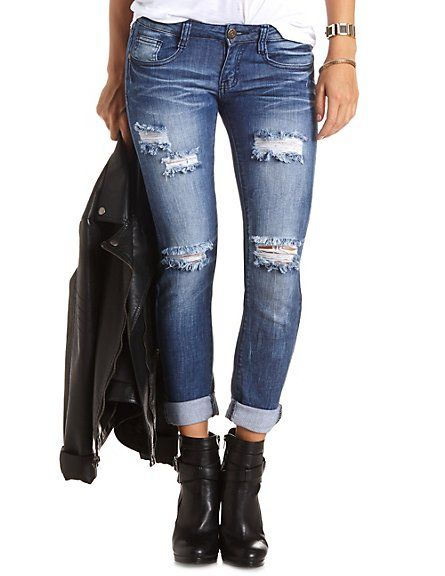 Low Rise Destroyed Skinny Boyfriend Jeans: Charlotte Russe #Denim ...