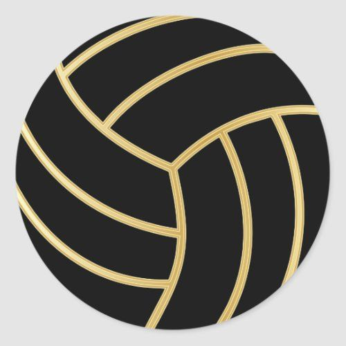 Volleyball Gold With Diy Background Color Classic Round Sticker Zazzle Com In 2020 Background Diy Colorful Backgrounds Round Stickers