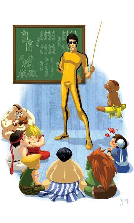 BRUCE LEE, Street Fighter, the master teaching the pupils