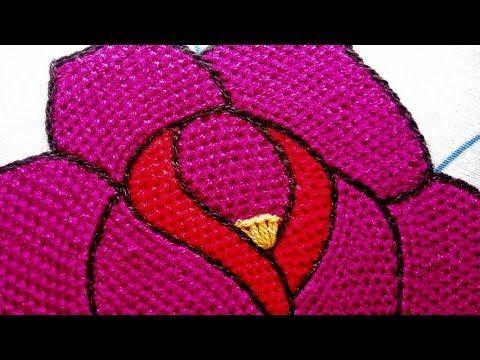 Bordado Fantasia Rosa Puntada De Relleno Facil Youtube