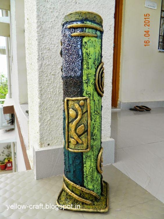 Pvc Pipe Flower Vase Yellow Craft Yellow Craft