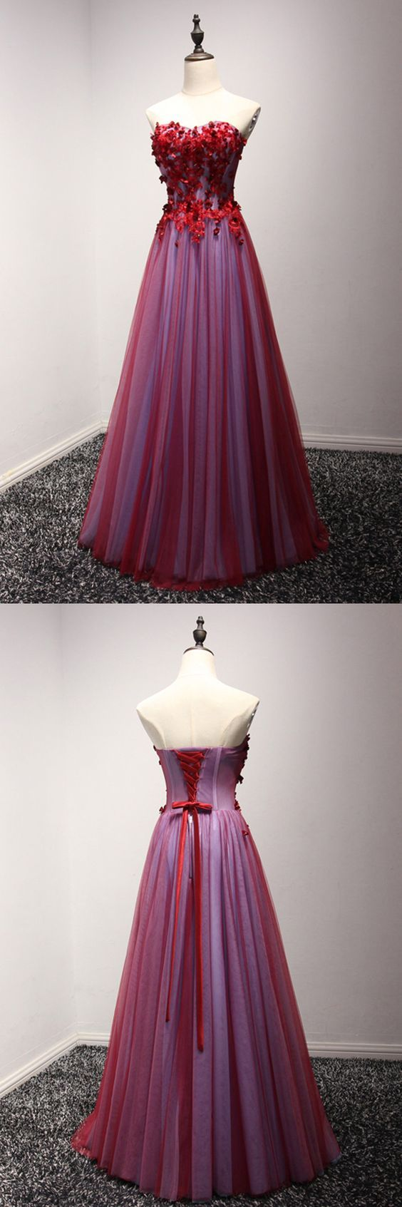Long Red Strapless Prom Dress With Beaded Floral Lace M1286 In 2021 Strapless Prom Dress Prom Dresses Trendy Dress Styles [ 1693 x 564 Pixel ]