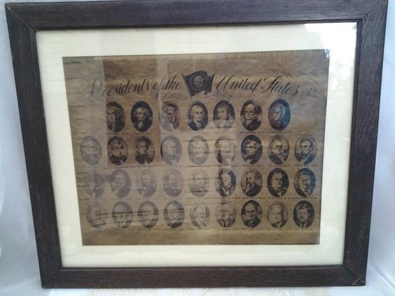PRESIDENTS of the UNITED STATES Print Framed by CakeStandsBoutique