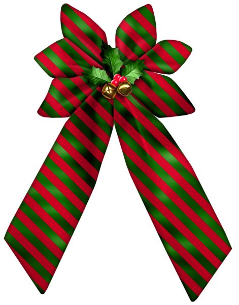 Christmas Striped Bow PNG Clipart: