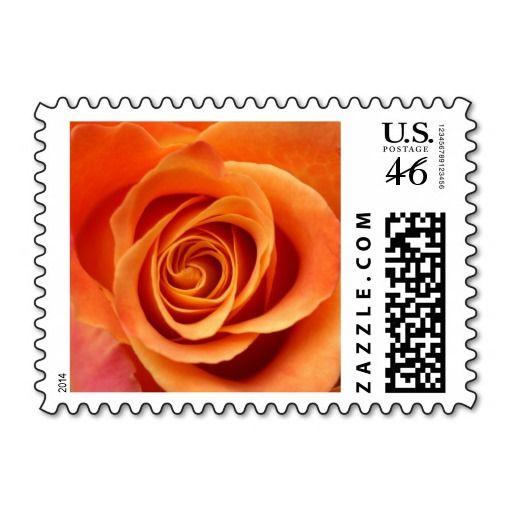 Orange-Coral Wedding Stamps