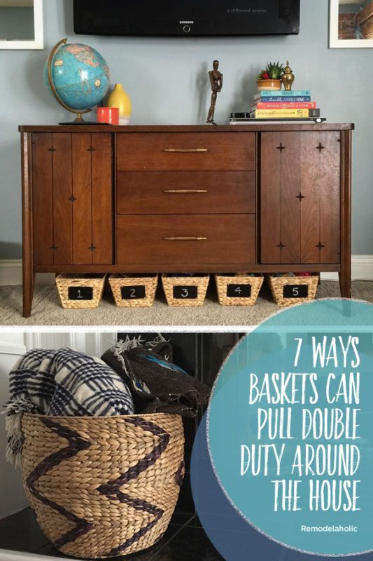7 Ways Baskets Can Pull Double Duty Around The House. Try these pretty baskets and ideas for where to use them as both storage and decoration! #spon