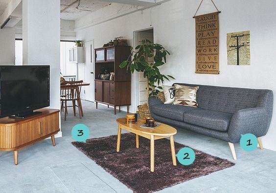 グレイのファブリックソファとダークな小物でブルックリンスタイルを取り入れたリビング家具・インテリア通販のNOCE