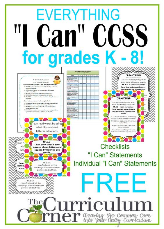 Common Core I Can Statements for kindergarten, 1st, 2nd, 3rd, 4th, 5th and 6th grades