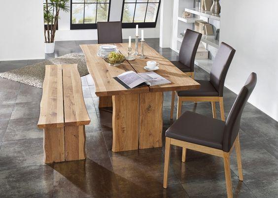 Tischgruppe Oviedo mit 4 Stühlen und Sitzbank Wildeiche Massiv - küchentisch mit stühlen