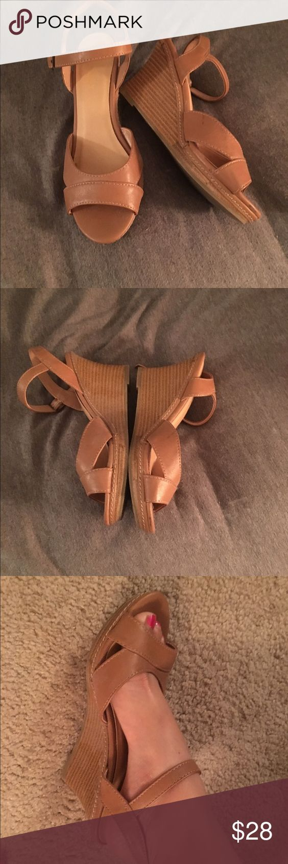 New Wedges, Tan! Simple, classic, every occasion! Worn 0-1 time, no joke, perfect condition. Every occasion. Too big for me (adjustable straps). 2-3 in heel. Very comfortable. Tan color matches everything. Selling cheaper + free ship on M3RC@RI ! Shoes Platforms