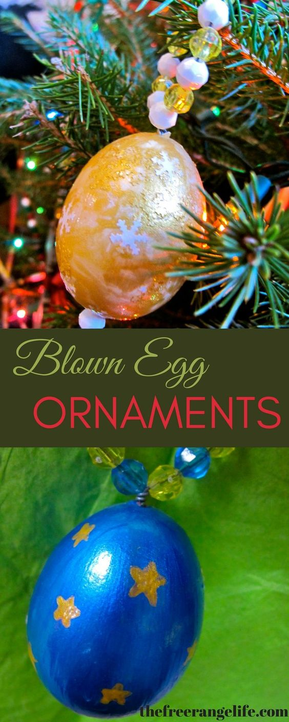 These blown egg ornaments are beautiful and a fun and farm-y way to decorate your tree!