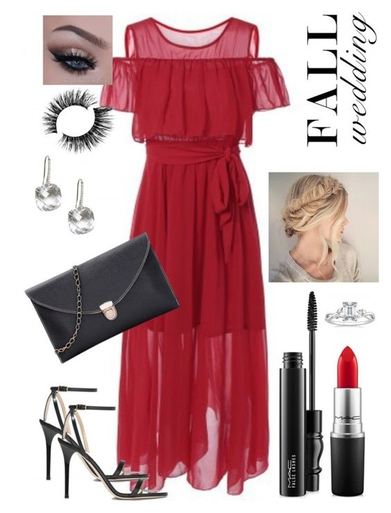 """""""Fall wedding V"""" by staceybuijs ❤ liked on Polyvore featuring Jimmy Choo, MAC Cosmetics and fallwedding"""