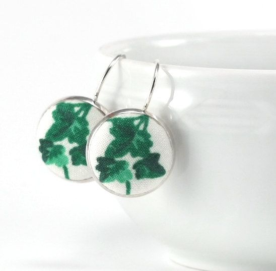 Green Ivy Earrings, Emerald Green Drop Earrings, Leaves on White Fabric Covered Buttons Jewelry, Silver Toned Leverback Earrings by PatchworkMillJewelry