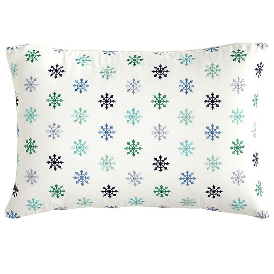 Blue Starburst Embroidered Pillow - Lumbar