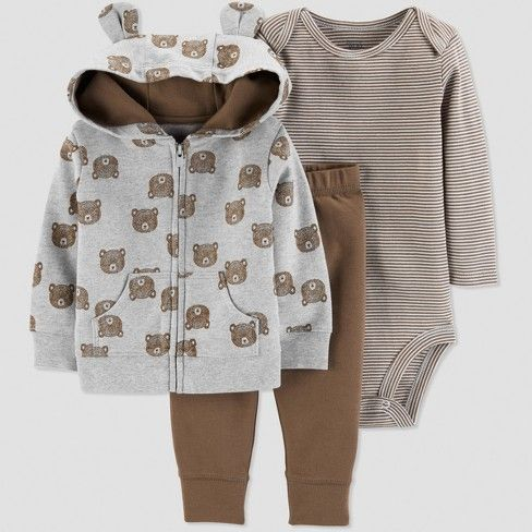 Cute Rhino On The Moon Playsuit Long Sleeve Cotton Bodysuit for Baby Boys and Girls