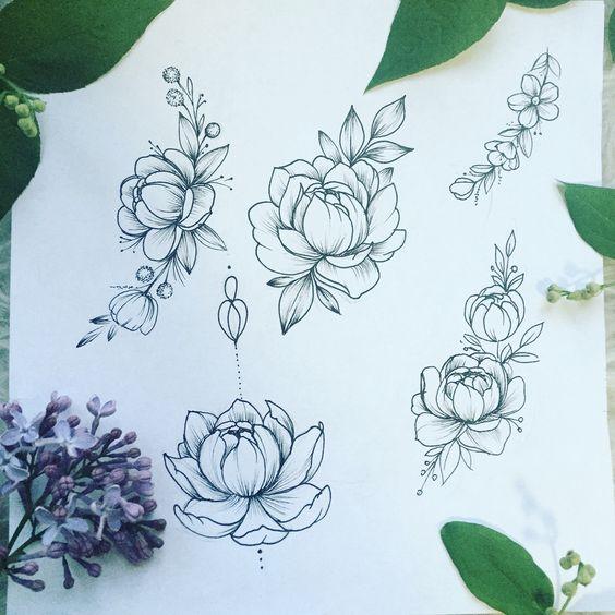 peonies tattoo sketch draw tattoos pinterest t towierung skizzen pfingstrosen tattoo und. Black Bedroom Furniture Sets. Home Design Ideas