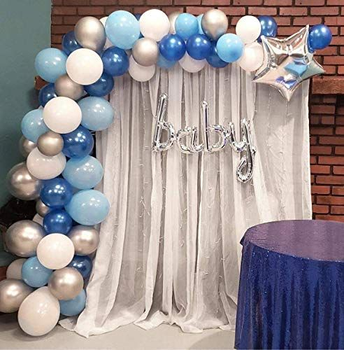 120pcs Navy Blue White Gold Confetti Balloons with 16ft Strip Tape /& Dot Glue for Bridal Shower Birthday Party Decorations Gold Balloon Garland Arch Kit