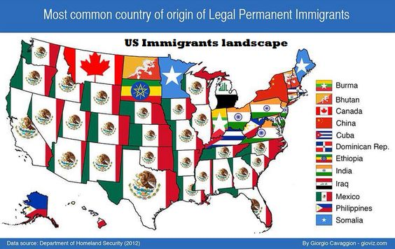 Most common country of origin of Legal Permanent Immigrants in the USA