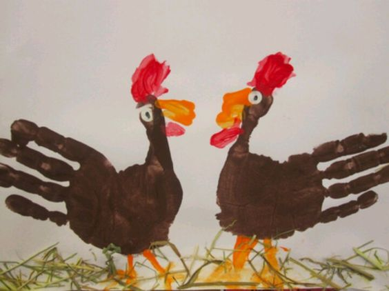 Voorjaar [dutch for spring]. Cockerel hand prints fits in nicely with the end of farm topic and link to Easter activities