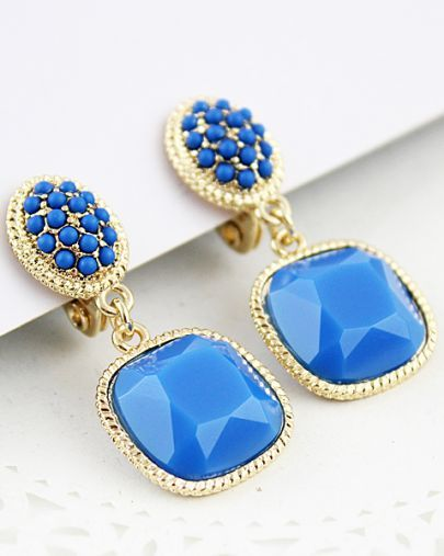 Blue Bead Gemstone Gold Earrings pictures