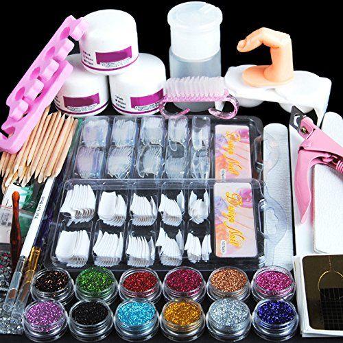 Coscelia Acrylic Powder Glitter Nail Art Kit False Nail Tips Nail