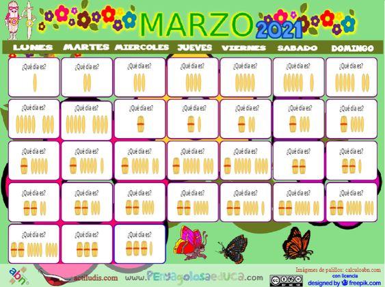 Calendario palillos infantil ABN – Marzo 2021