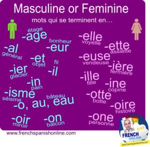 Image to share and download: Gender of French words: http://www.frenchspanishonline.com/magazine/masculine-or-feminine-gender/: