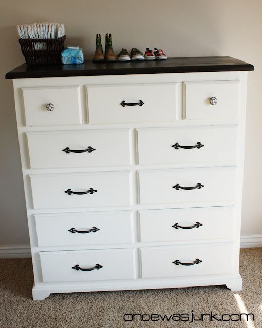 This is gorgeous, makes me want to drag our old dresser from out of our bedroom and paint it.   From Once was junk.