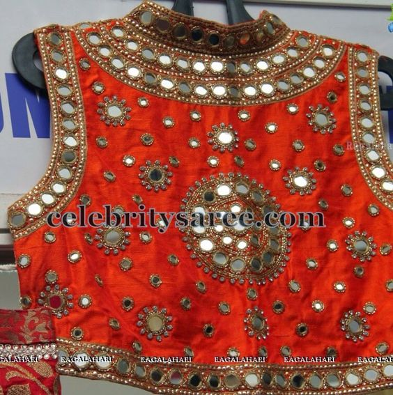 Mirror work high neck blouse