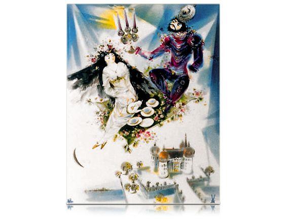 Wandbild, Motive aus 1001-Nacht, fliegender Teppisch mit Moritzburg, 35 x 26 cm
