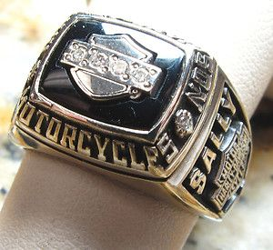 Harley Davidson Ring FXDL Dyna Low Rider Sally 10K Gold w Onyx ...