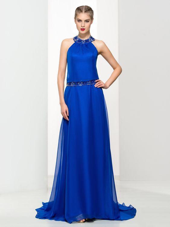 2020 Saks Mavi Elbise Modelleri Uzun Halter Yaka Boncuk Isleme Detayli Elbise Modelleri Elbise Parti Elbiseleri
