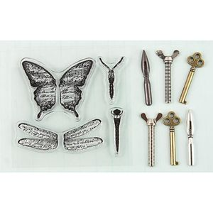 Picture of Stamp-N-Add Stamp & Metal Embellishment Set - Butterfly Wings
