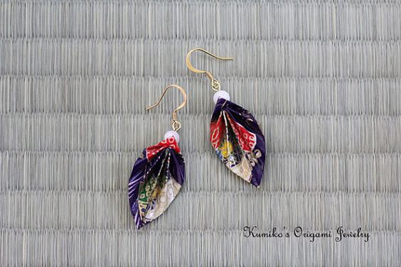 Origami Jewelry  Origami Leaf Earrings w/ Plated by KumikosOrigami