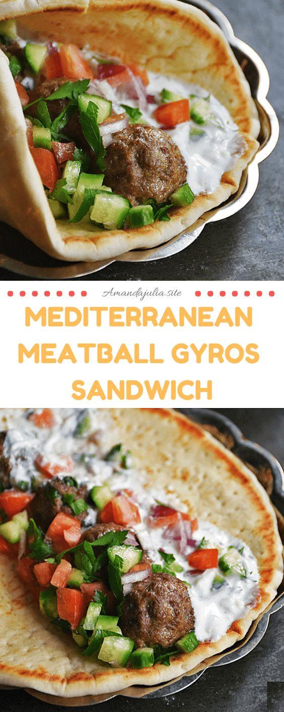 Mediterranean Meatball Gyros Sandwich Recipe