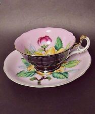 Merit Occupied Japan Floral on Lavender,Black Footed Teacup,Saucer Set VGC
