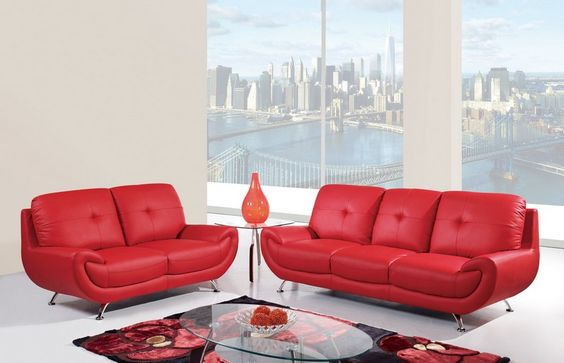 Red Leather Cushion Back Living Room Set