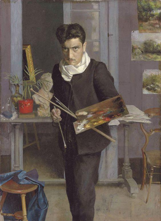 Julio Romero de Torres (Spanish, 1874-1930), Self-portrait, 1898. Oil on canvas, 73.5 x 54.5 cm.: