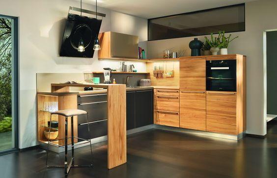 Küche L1 von Team7 mit Theke in Kernbuche Unsere Wohnung Pinterest - küchen team 7
