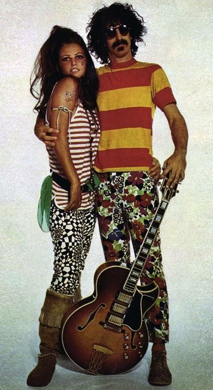Claudia Cardinale & Frank Zappa by Richard Avedon - 1967 rocker looks rock n roll late 60s vintage fashion style pants boots striped shirt hair shoes floral graphic print