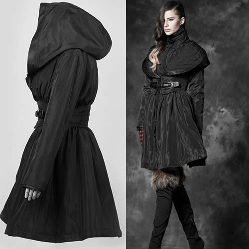 Designer Black Hooded Long Goth Jackets Trench Coats Windbreakers