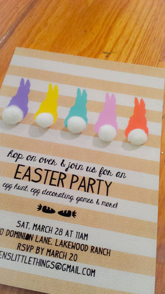 FREE Easter Party Invitation Design / Five sweet pastel bunnies against a burlap, striped white and gold background. Just add pom pom or puff ball for that cotton tail, write in your party details and have a blast!: