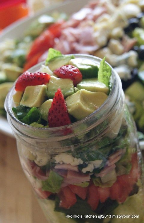 Lunch in Mason Jars- lots of recipes for mason jar lunches. The jars help keep the food fresh so you can make a week's worth of food ahead of time.