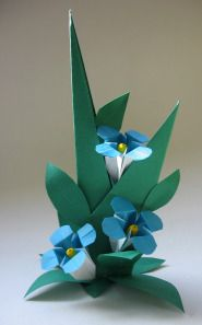 How to Fold an Origami Flower  Forget-Me-Not and Leaf Display. I tried the flowers at least and its pretty straightforward and a lot of fun.