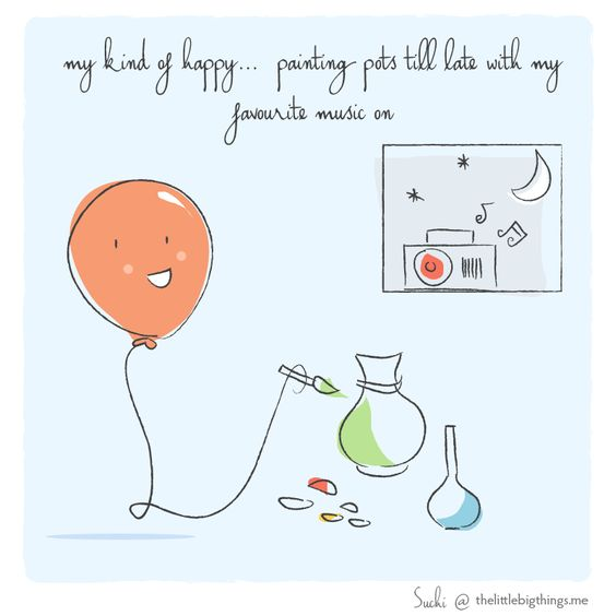 Today's doodle - My kind of happy... Painting pots till late with my favourite music on 🙋 Doodled for Mallika Sarkar So, what is your kind of happy? TELL ME HERE www.thelittlebigthings.me/happypage & I will doodle it for you! #doodle #happy #creativewednesday