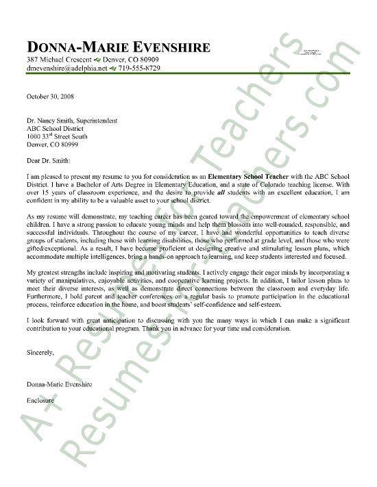 Cover Letter Teacher Elementary Teacher Cover Letter Sample
